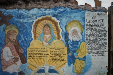 story of 'Our Lady of Guadalupe' painted on plaster wall