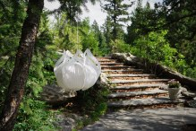 mountain stone walkway with white hanging ornament