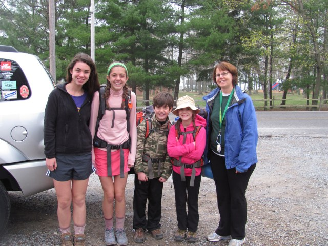 Backpacking with kids Laurel dropping us off to hike in Harpers Ferry