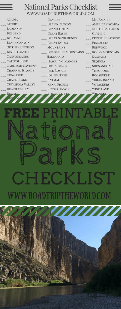 Free Printable National Parks Checklist