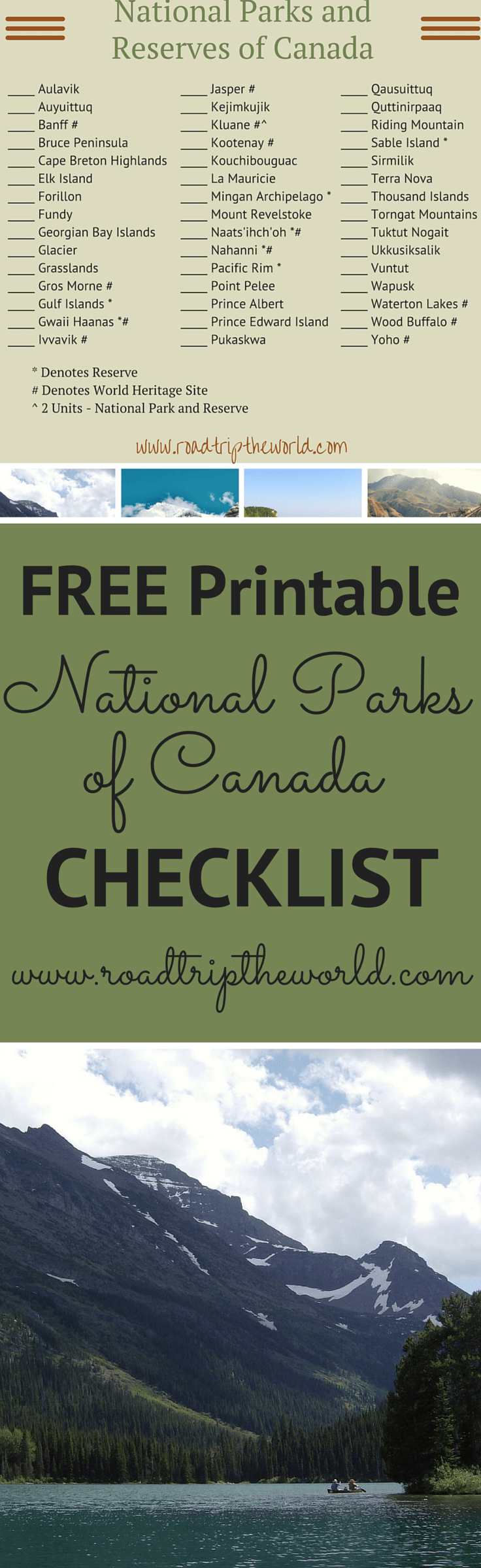 photograph about Printable National Park Checklist named Canada Countrywide Parks Printable Record - Street Getaway the Environment