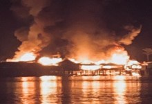 URGENTE – Incêndio de grandes proporções está destruindo o comércio boliviano na divisa de Costa Marques