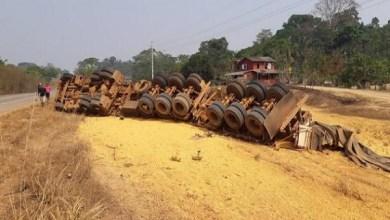 Carreta com carga de milho tomba na BR-364 em RO e motorista fica ferido