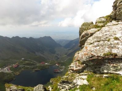 Looking down to Balea Lake and the Transfagarasan road