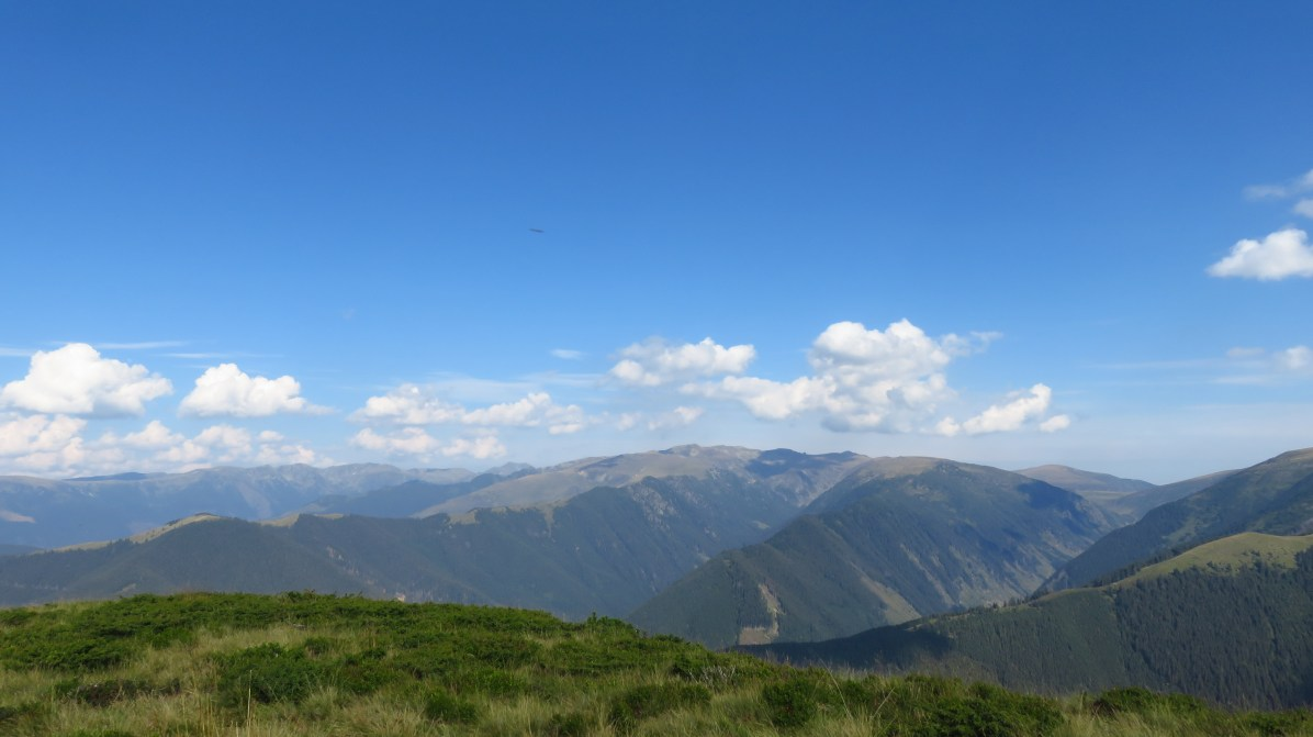 Looking towards the Fagaras. You can see the trapezoid shape of Vistea Mare and Moldoveanu Peaks in the distance.