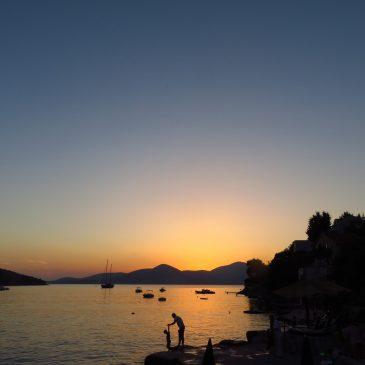 montenegro bigova bay sunset