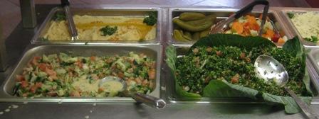 Salad Bar with Hummus, Tabouleh, and Tahini