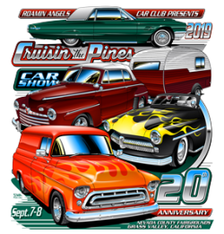 Artwork for the 2019 Cruisin the Pines Car Show