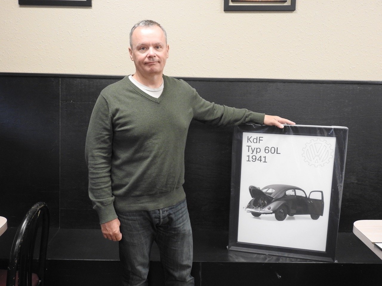 Ian with poster of 1941 KDF Type 60L built by Nazi Germany