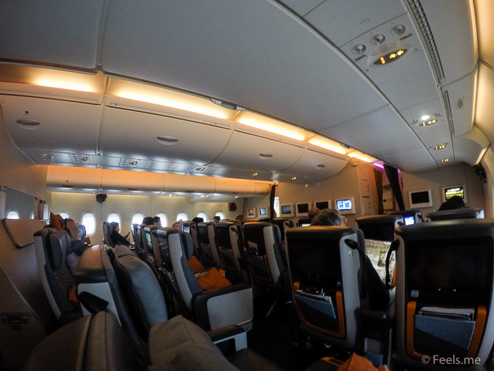 Singapore Airlines PVG SIN Premium Economy Cabin overview