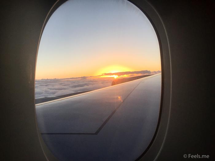 Singapore Airlines PVG SIN Premium Economy Sunset view