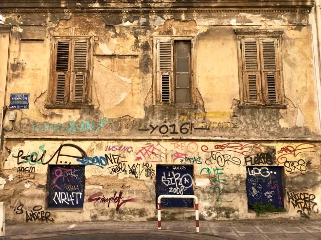 Grafitti, and neoclassic architecture. Athens, Greece