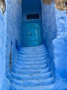 Blue Stairway to cool blue door