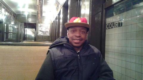 Stephen inside a Vintage Subway car