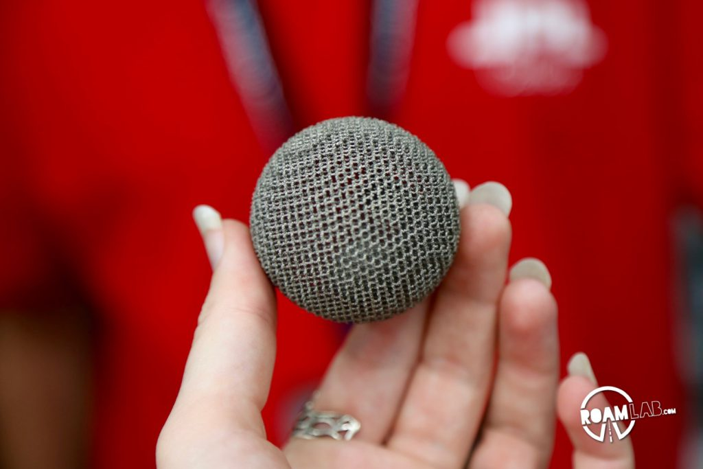 3D printed titanium ball on display at the Jet Propulsion Laboratory open house.