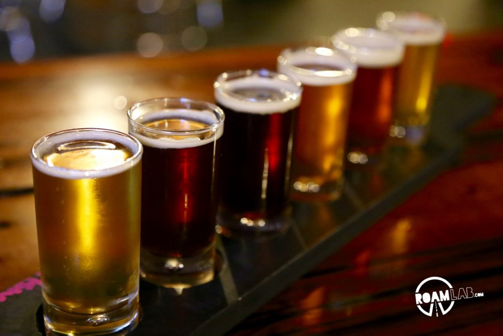 Flight of beers from Lewis & Clark Brewing Company.