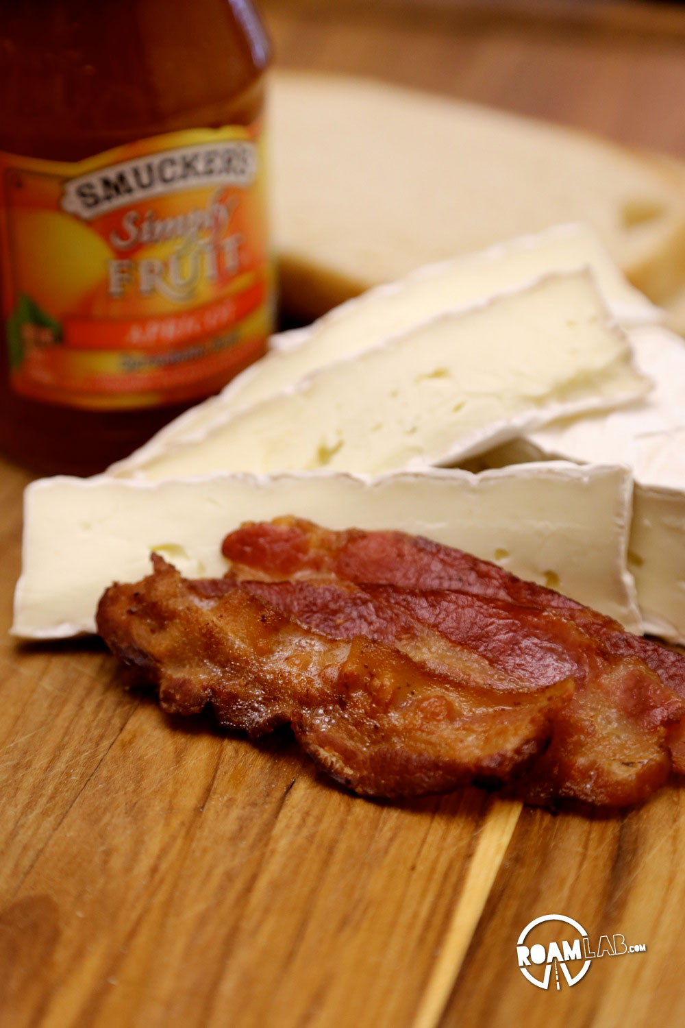 Brie? Bacon? Apricot jam?Check! We have all the ingredients ready to make a Glamper's Bacon Brie Apricot Toasted Sandwich