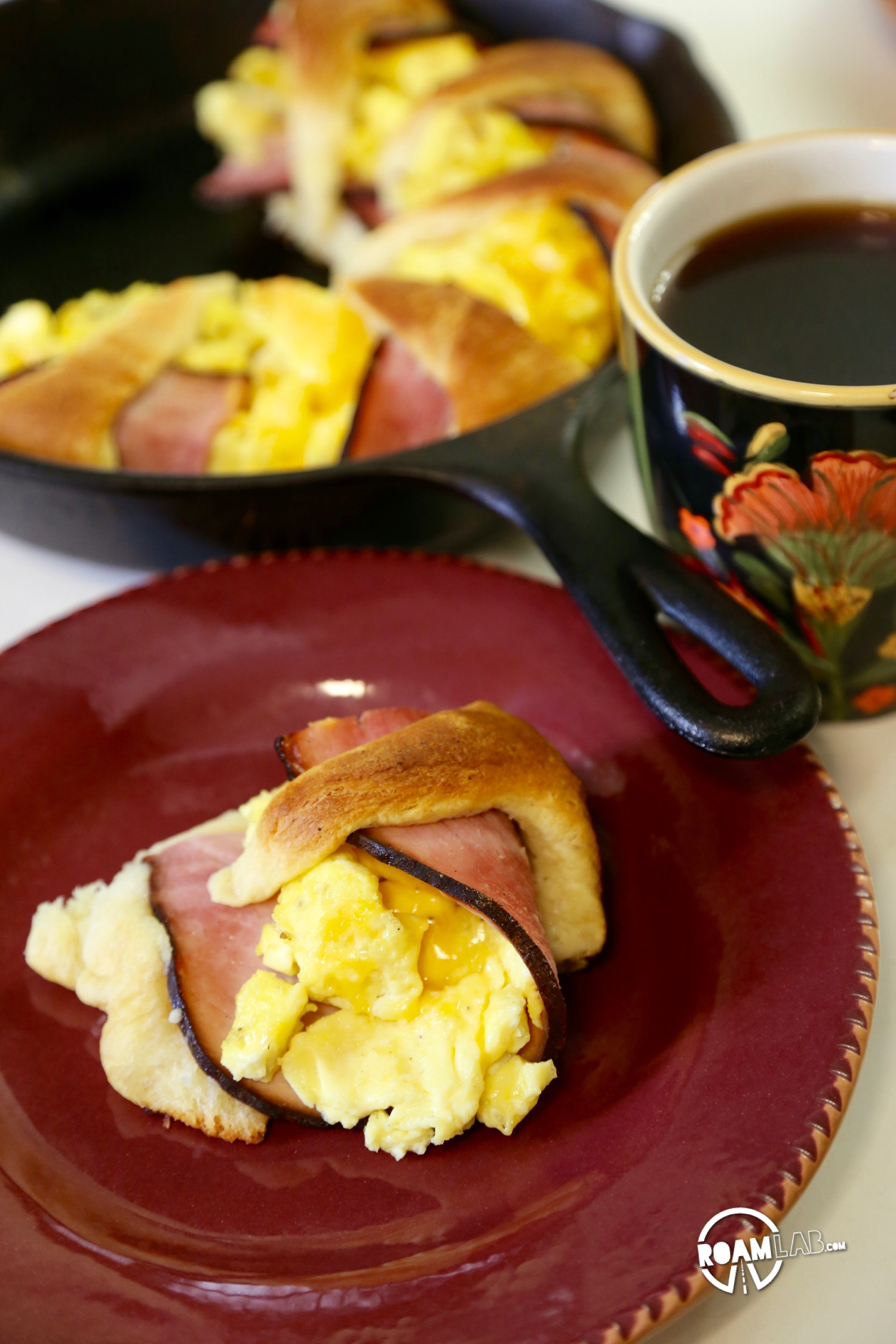 We had a left over tube of crescents and slices of ham, so we decided to bring those two together to make a fun and tasty breakfast combo: the Dutch Oven Breakfast Ring