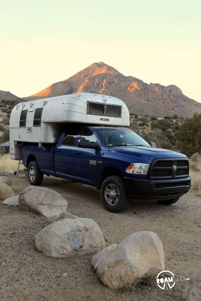 In position for the night at Aguirre Spring Campground in the Avion Ultra truck camper
