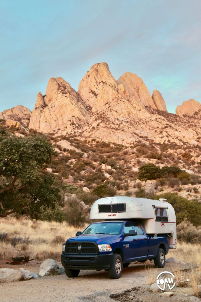 Sunrise at Aguirre Spring Campground with the Avion Ultra truck camper