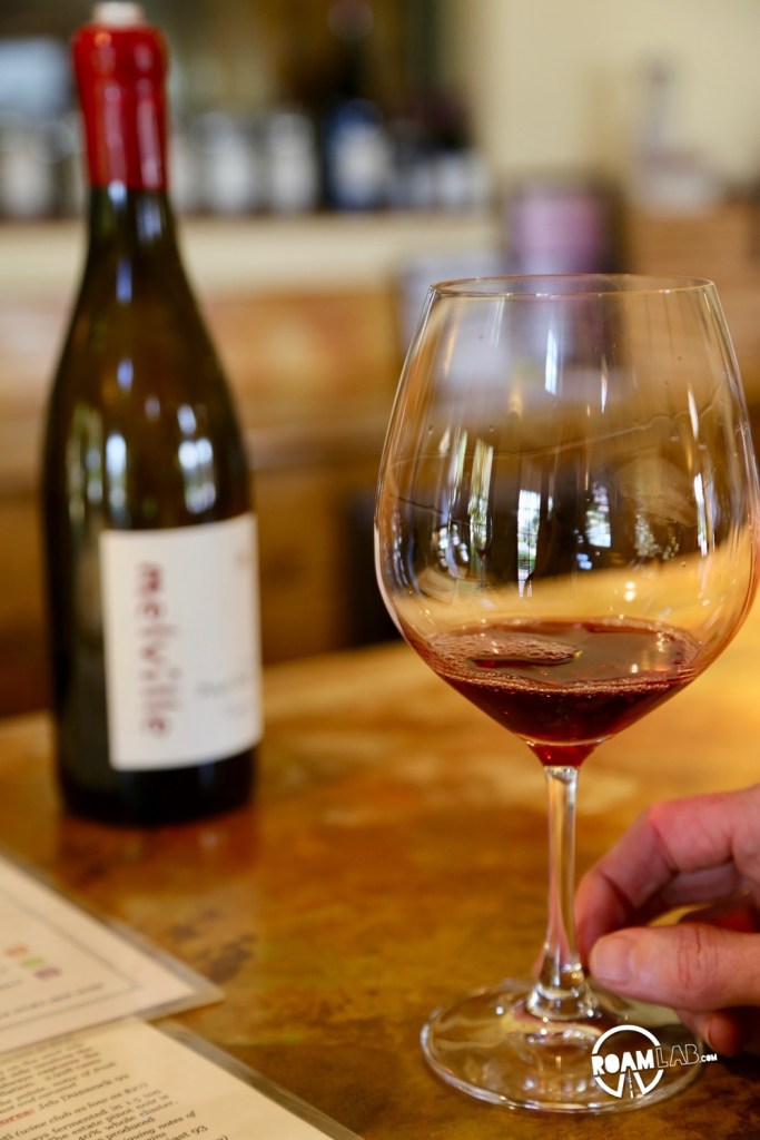 While the Melville Winery boasts award winning Chardonnay, like most vineyards in the Santa Rita Hills outside of Santa Barbara, it specializes in Pinot Noir.