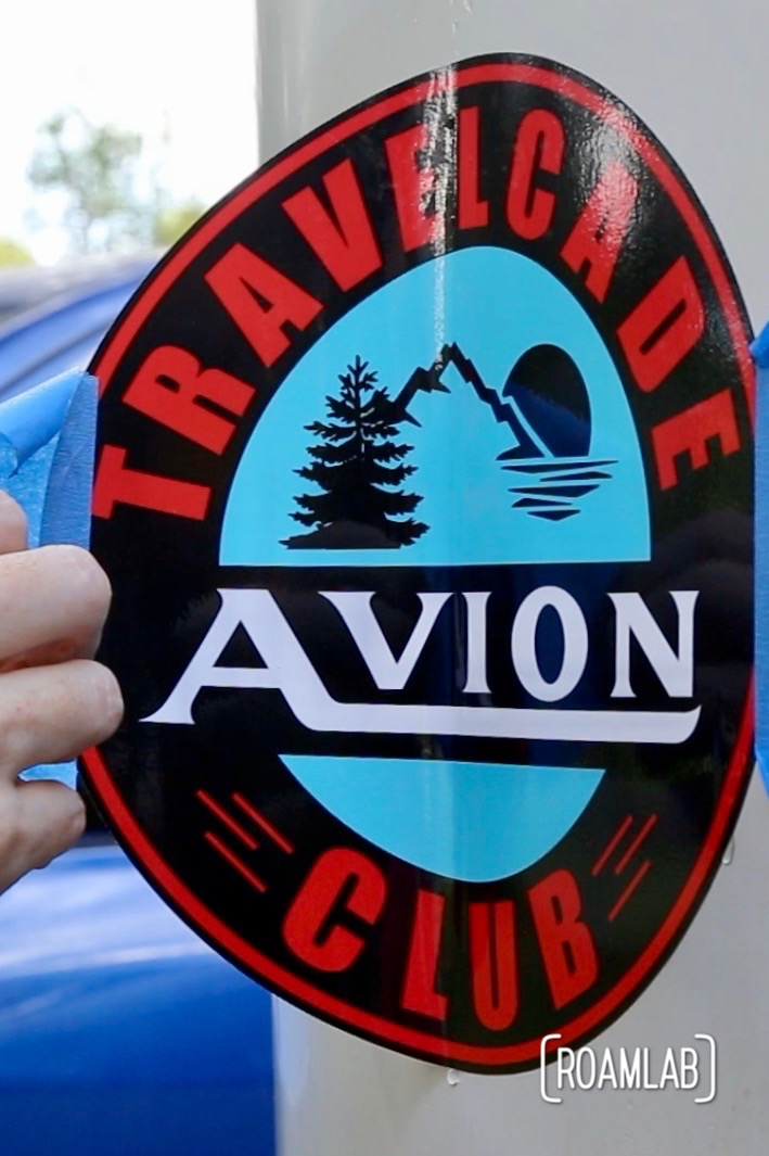 Like most classic campers, our Avion truck camper came with many stickers to mark its identity and affiliation. One of the classic stickers is for the Avion Travelcade Club. While the club is long gone, the sticker is a piece of history - faded, peeling history. So, we decide it is time to replace the old sticker with a new, vinyl reproduction.