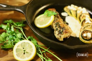 Take your seafood cuisine to the next level with this cast iron skillet seared sea bass in a herb butter sauce campfire cooking dinner recipe