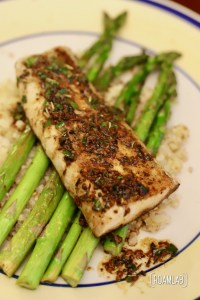 Savor this dense, meaty white fish recipe with a rich and garlicky sauce in our lemon butter mahi mahi and asparagus campfire cooking dinner recipe.