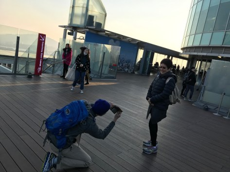A tourist asked Matt to be her photographer because his height would give her a good angle.