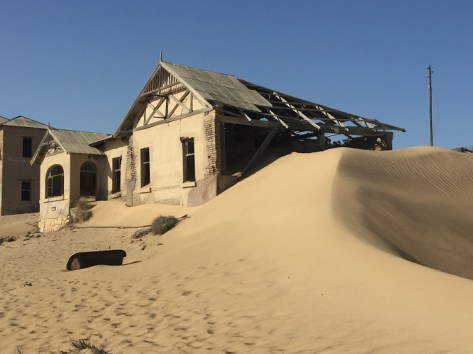 A sandy ramp to the roof of the house.