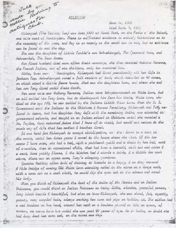 Redding account of Kilsoquah page 1