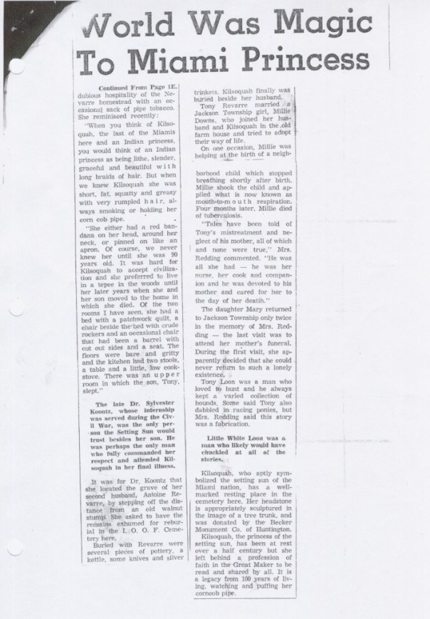 A scanned picture of Kilsoquah article-World was Magic to Miami Princess.