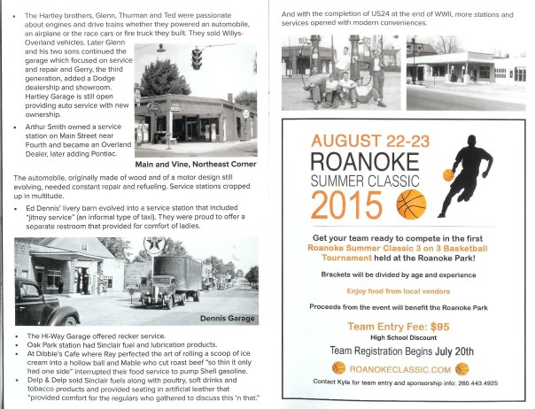 A scanned page for the Rolling into Roanoke brochure featuring Automobile drives Roanoke continued