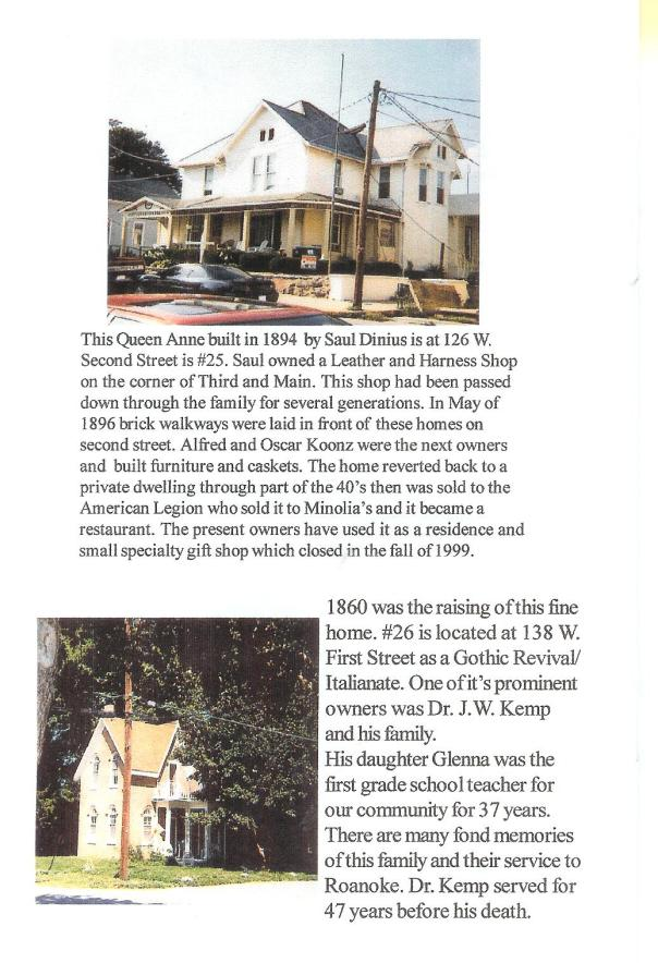 A scanned picture of Roanoke Historic Homes with information about the home (2 homes included)