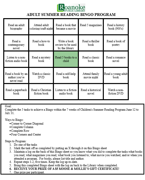 Adult summer reading bingo program-includes bingo sheet, goal, ways to bingo and steps to program.