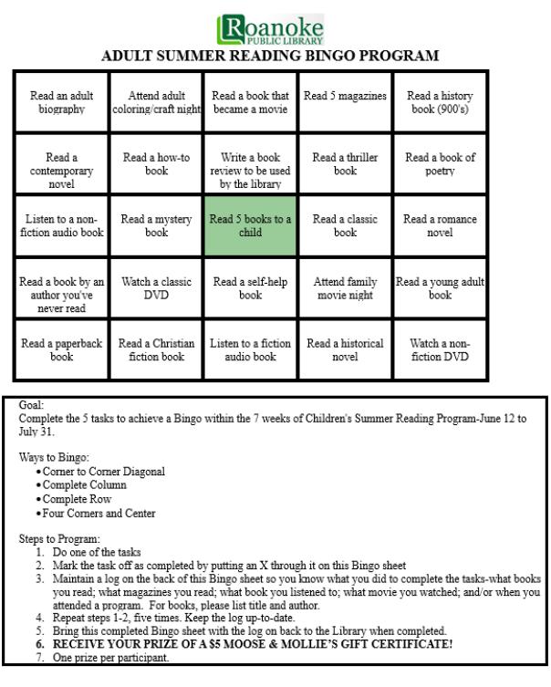 Adult summer reading bingo program-includes bingo sheet, goal, ways to bingo and steps to program.