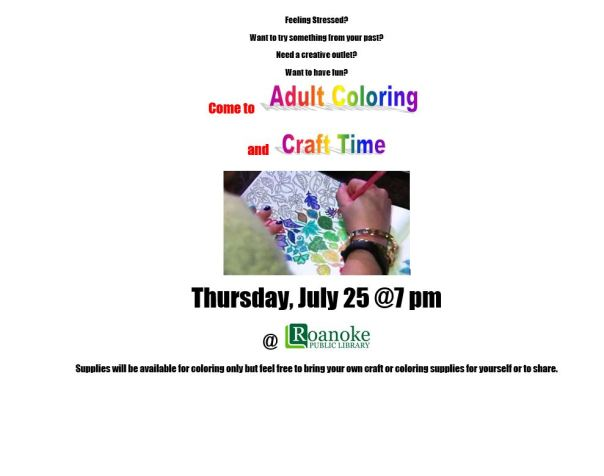 Adult Coloring and Craft Time on July 25 at 7pm