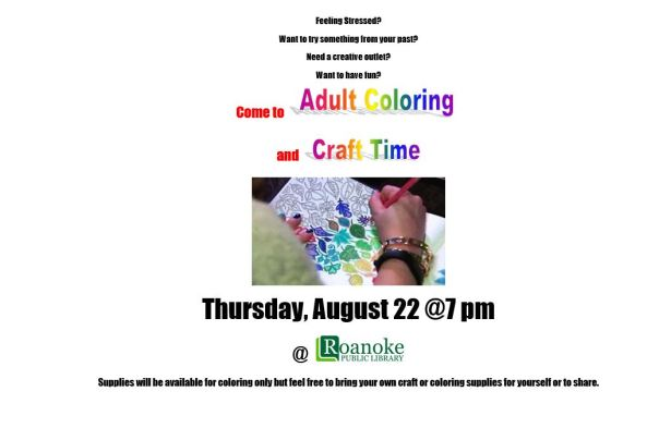 Adult Coloring and Craft Time-August 22