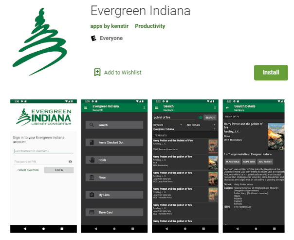 Evergreen Indiana App pages