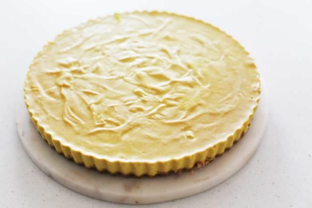 Lemon and Cashew Vegan Raw Cheesecake undecorated