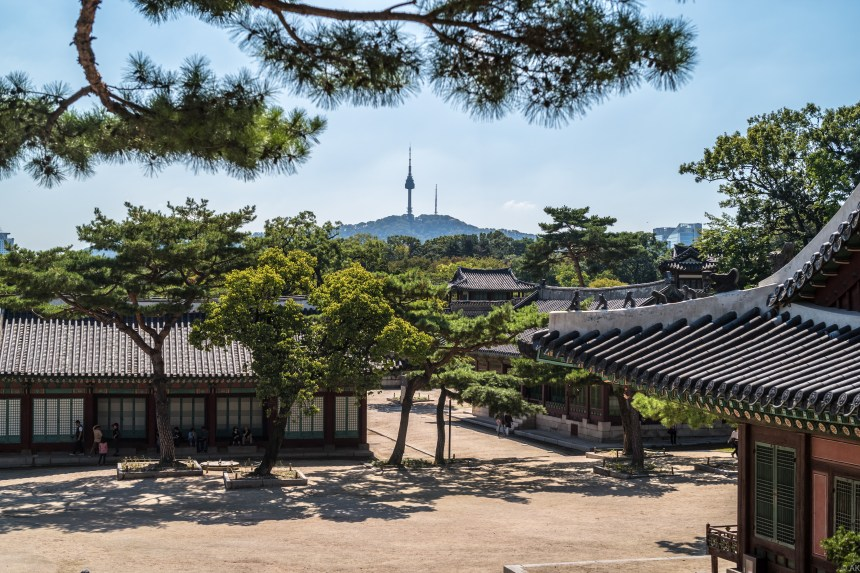 Seoul N Tower can be seen inside a King's palace