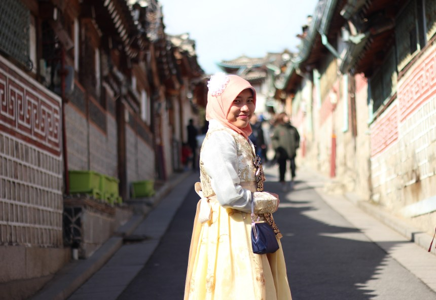 A photo of me, wearing Korean traditional costume Hanbok.