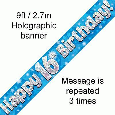 16th Birthday Blue banner