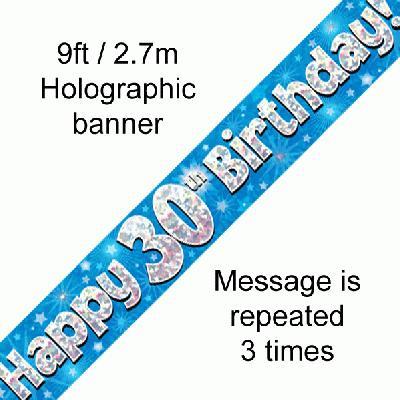 30th Birthday blue banner