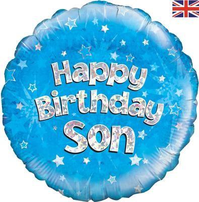 18 inch Happy Birthday Son blue sparkle balloon