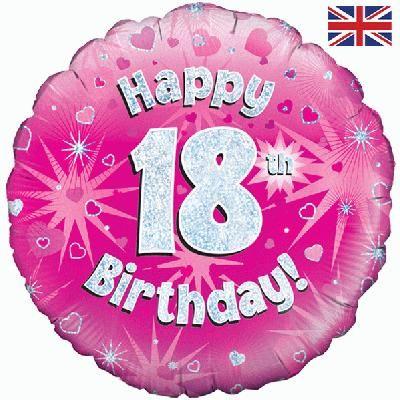 18 inch round 18th Sparkle Pink Birthday balloon