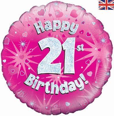 18 inch round 21st Sparkle Pink Birthday balloon