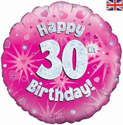 18 inch round 30th Sparkle Pink Birthday balloon