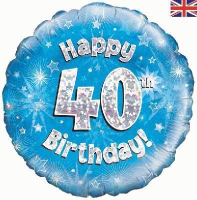 18 inch round 40th Sparkle Blue Birthday balloon