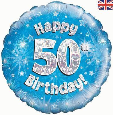18 inch round 50th Sparkle Blue Birthday balloon